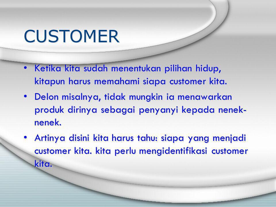 CUSTOMER Ketika kita sudah menentukan pilihan hidup, kitapun harus memahami siapa customer kita.