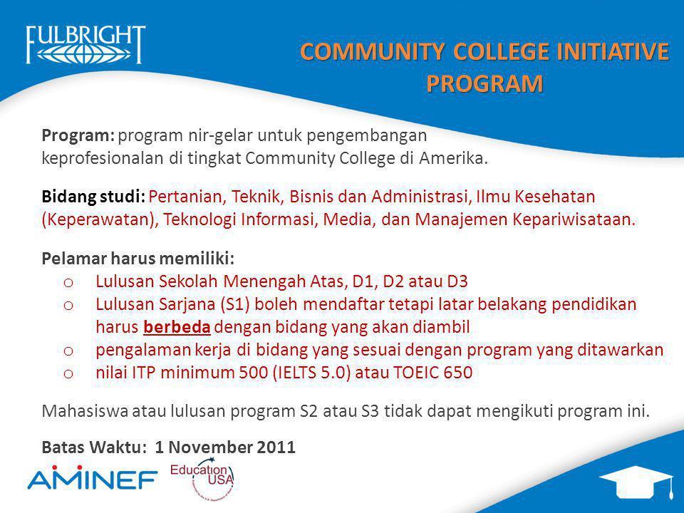 COMMUNITY COLLEGE INITIATIVE PROGRAM