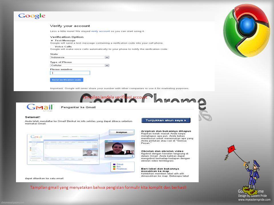 Tampilan jendela verifikasi account Tampilan gmail yang menyatakan bahwa pengisian formulir kita komplit dan berhasil