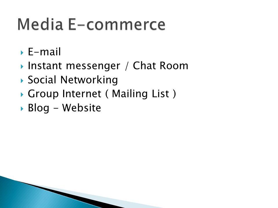 Media E-commerce E-mail Instant messenger / Chat Room