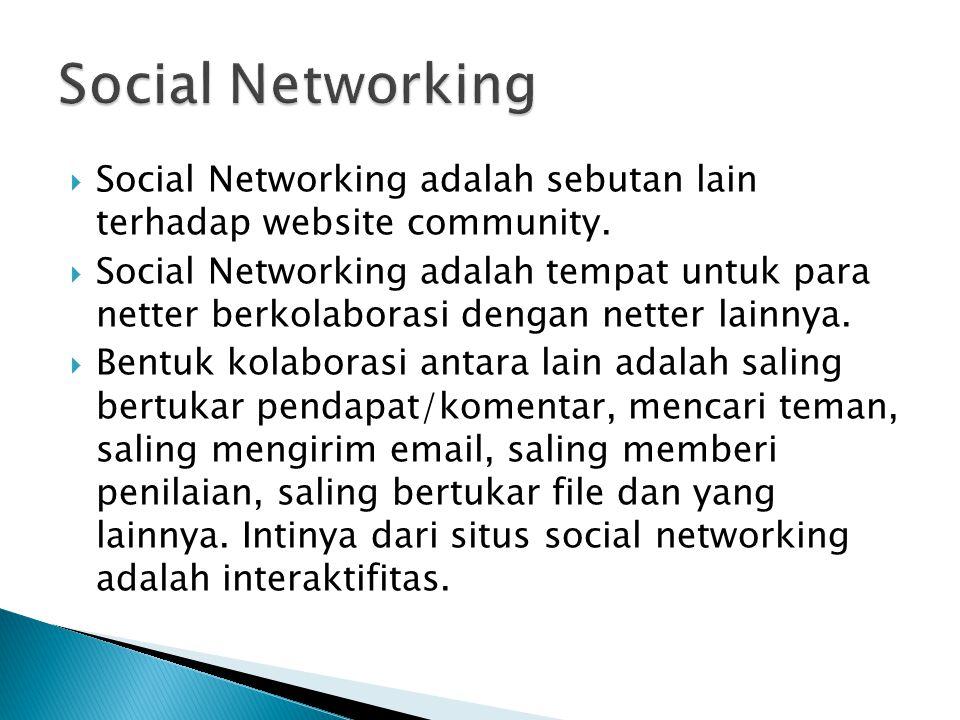 Social Networking Social Networking adalah sebutan lain terhadap website community.
