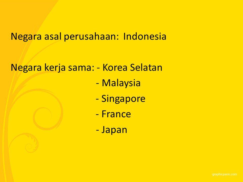 Negara asal perusahaan: Indonesia Negara kerja sama: - Korea Selatan - Malaysia - Singapore - France - Japan