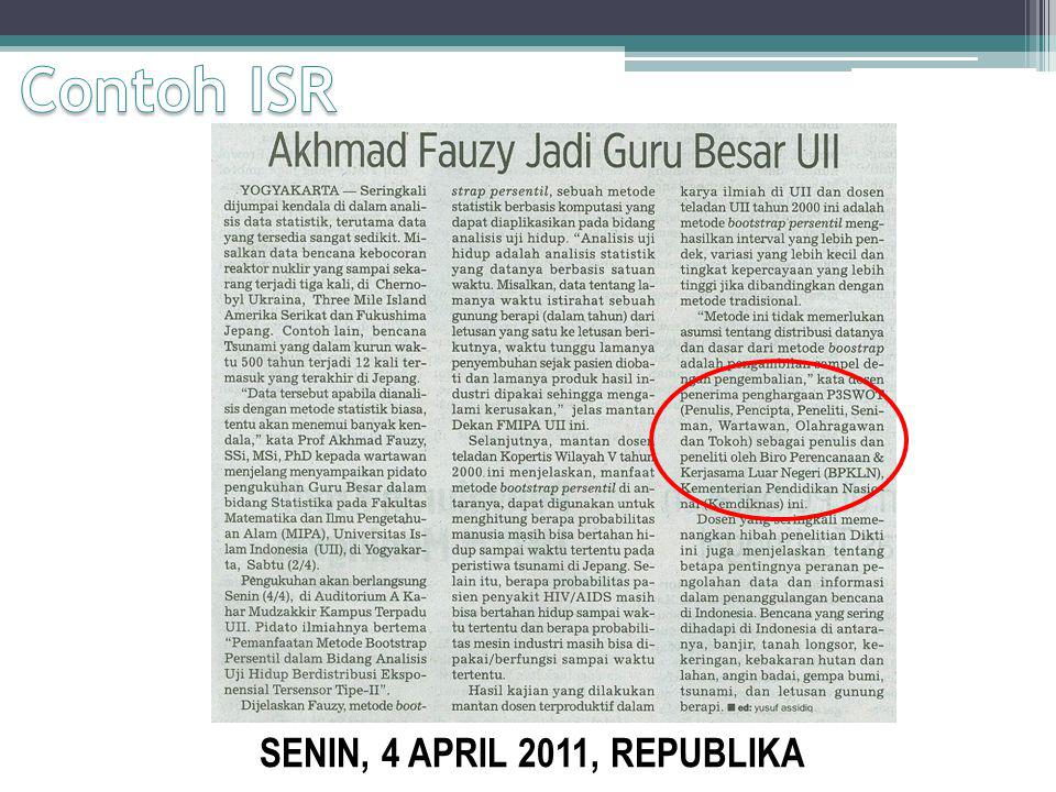 Contoh ISR SENIN, 4 APRIL 2011, REPUBLIKA
