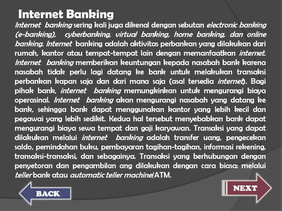 Internet Banking NEXT BACK