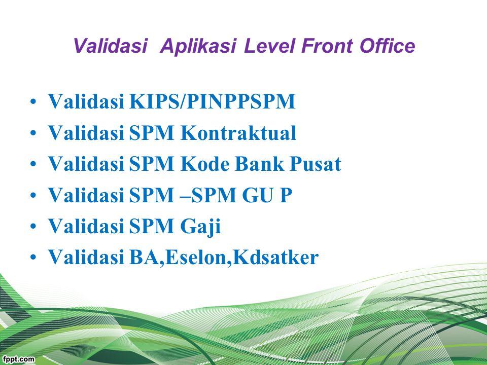 Validasi Aplikasi Level Front Office