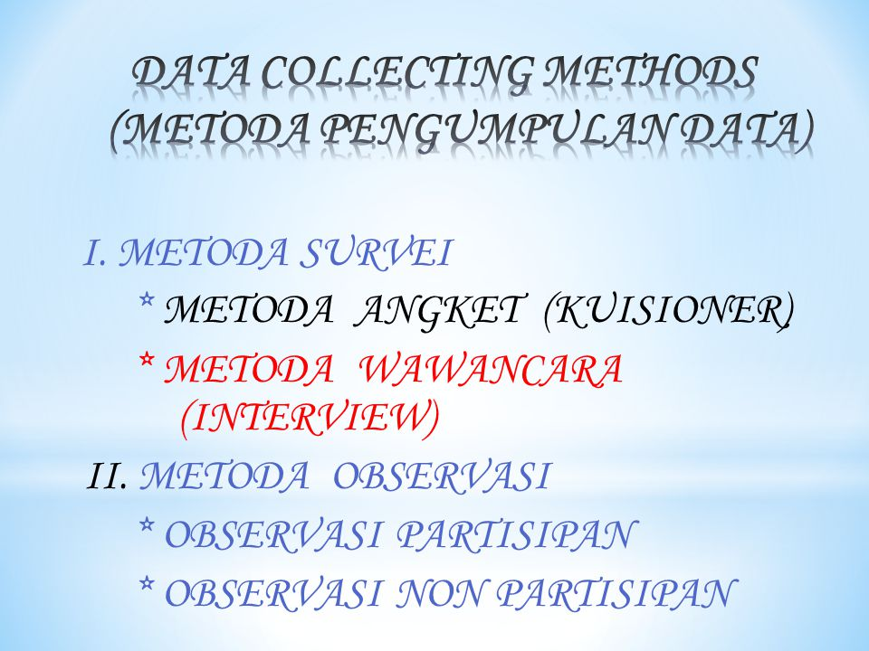 DATA COLLECTING METHODS (METODA PENGUMPULAN DATA)