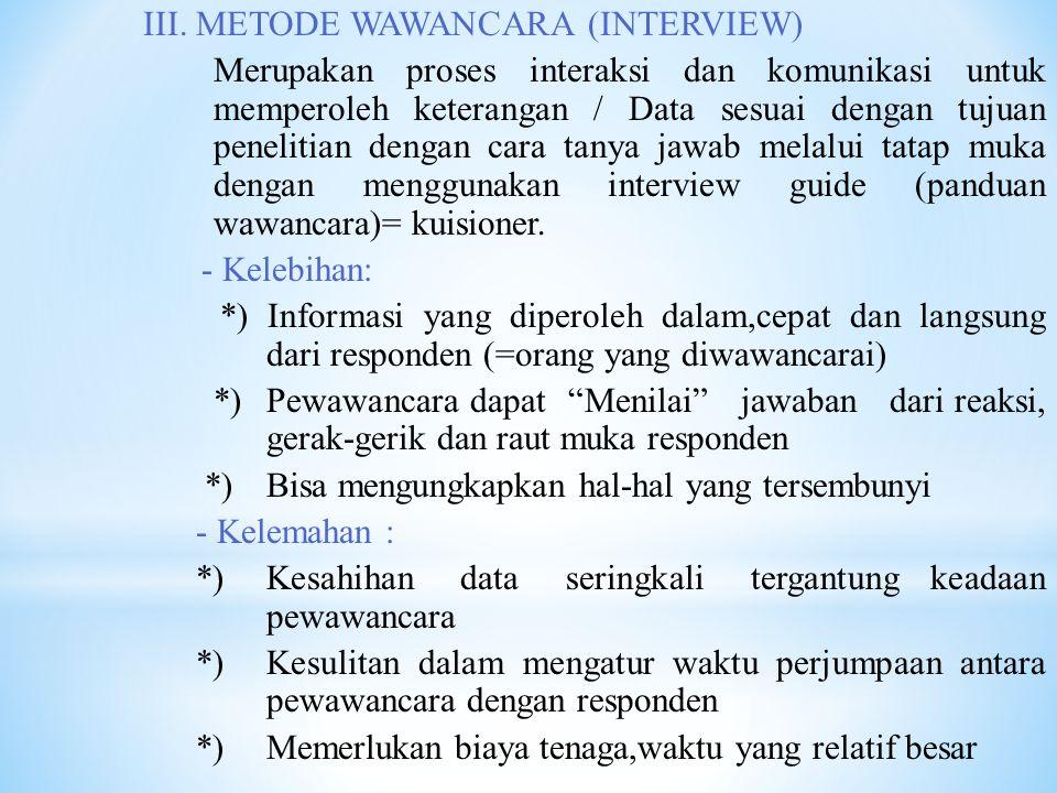 III. METODE WAWANCARA (INTERVIEW)