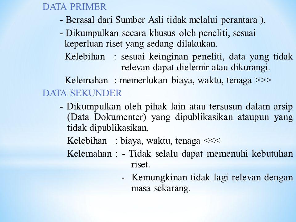 DATA PRIMER - Berasal dari Sumber Asli tidak melalui perantara ).
