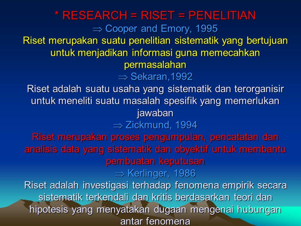 * RESEARCH = RISET = PENELITIAN  Cooper and Emory, 1995 Riset merupakan suatu penelitian sistematik yang bertujuan untuk menjadikan informasi guna memecahkan permasalahan  Sekaran,1992 Riset adalah suatu usaha yang sistematik dan terorganisir untuk meneliti suatu masalah spesifik yang memerlukan jawaban  Zickmund, 1994 Riset merupakan proses pengumpulan, pencatatan dan analisis data yang sistematik dan obyektif untuk membantu pembuatan keputusan  Kerlinger, 1986 Riset adalah investigasi terhadap fenomena empirik secara sistematik terkendali dan kritis berdasarkan teori dan hipotesis yang menyatakan dugaan mengenai hubungan antar fenomena