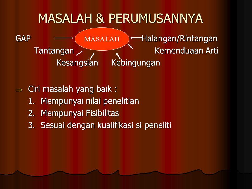 MASALAH & PERUMUSANNYA