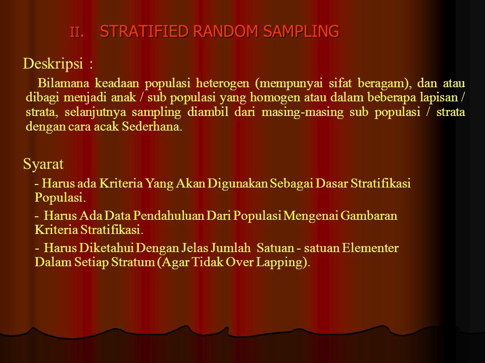 II. STRATIFIED RANDOM SAMPLING