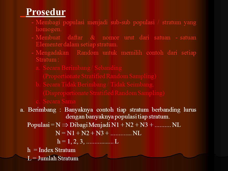 Prosedur - Membagi populasi menjadi sub-sub populasi / stratum yang homogen.