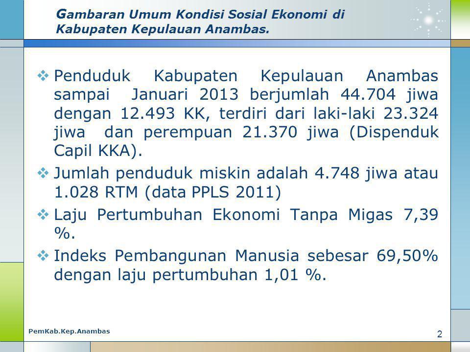 Gambaran Umum Kondisi Sosial Ekonomi di Kabupaten Kepulauan Anambas.