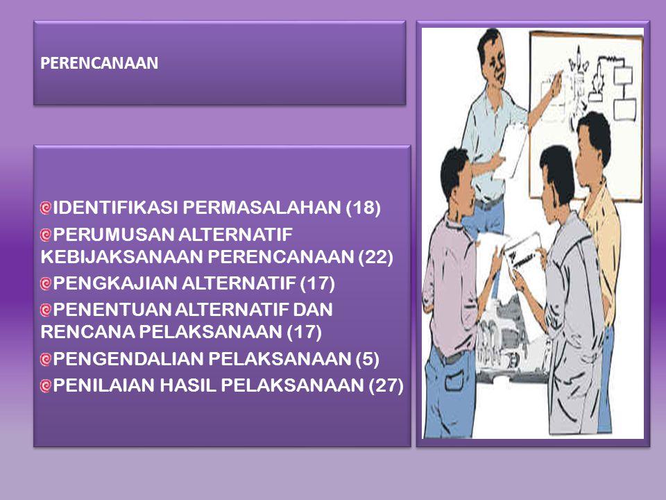 PERENCANAAN IDENTIFIKASI PERMASALAHAN (18) PERUMUSAN ALTERNATIF KEBIJAKSANAAN PERENCANAAN (22) PENGKAJIAN ALTERNATIF (17)