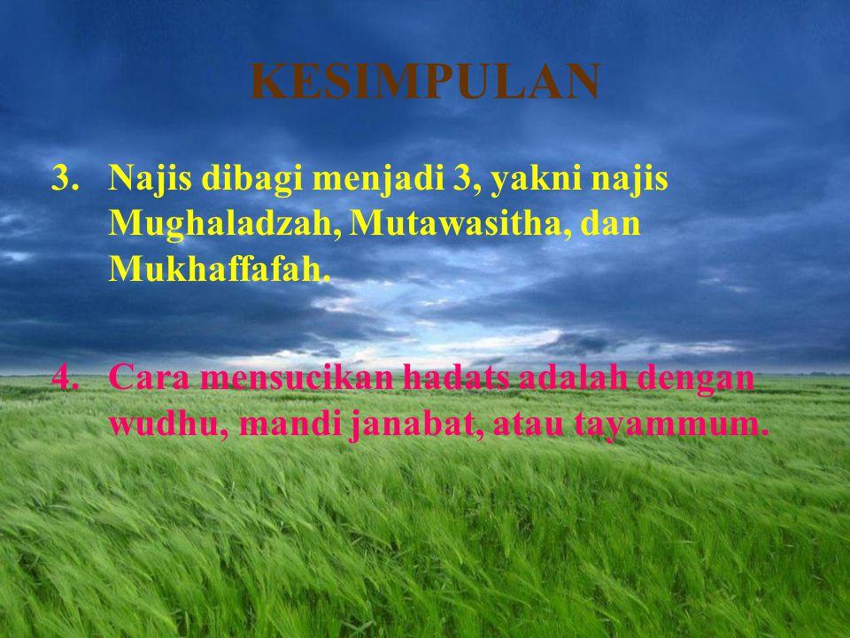 KESIMPULAN Najis dibagi menjadi 3, yakni najis Mughaladzah, Mutawasitha, dan Mukhaffafah.