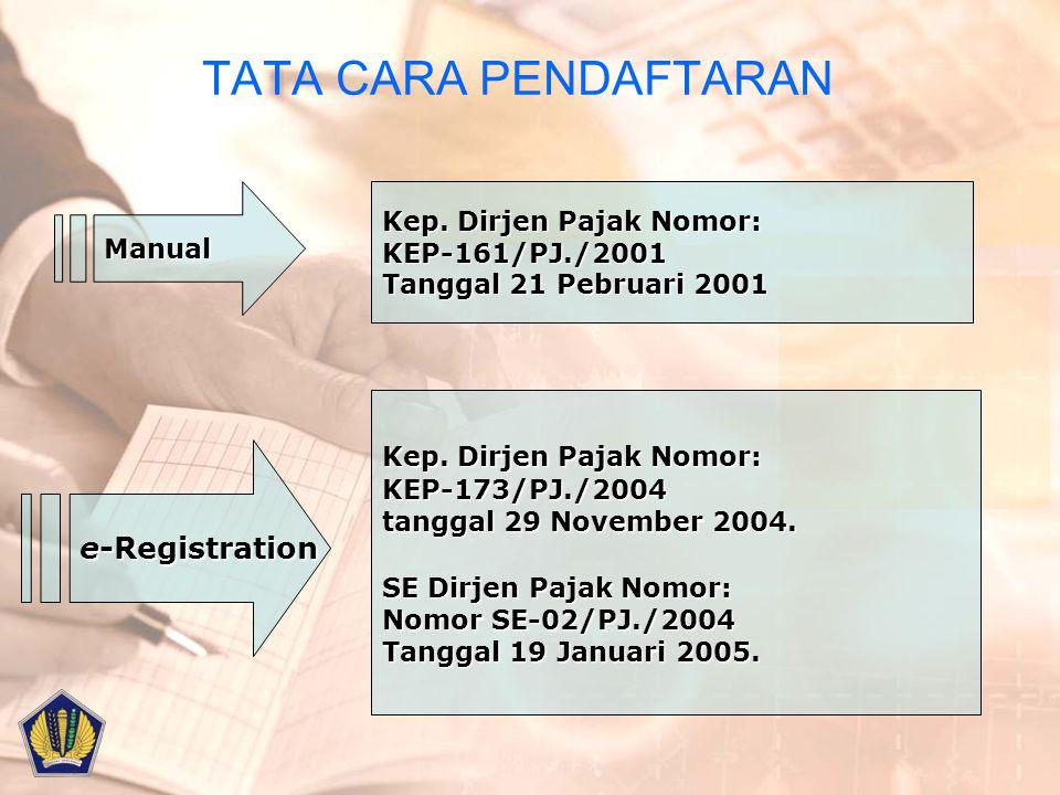 TATA CARA PENDAFTARAN e-Registration Kep. Dirjen Pajak Nomor: Manual