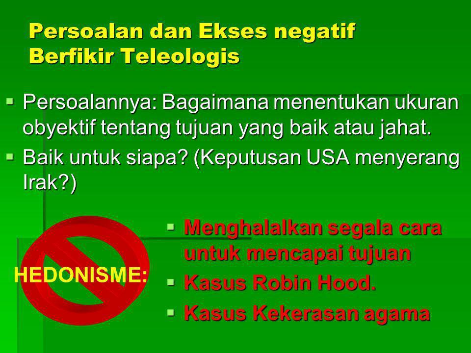Persoalan dan Ekses negatif Berfikir Teleologis