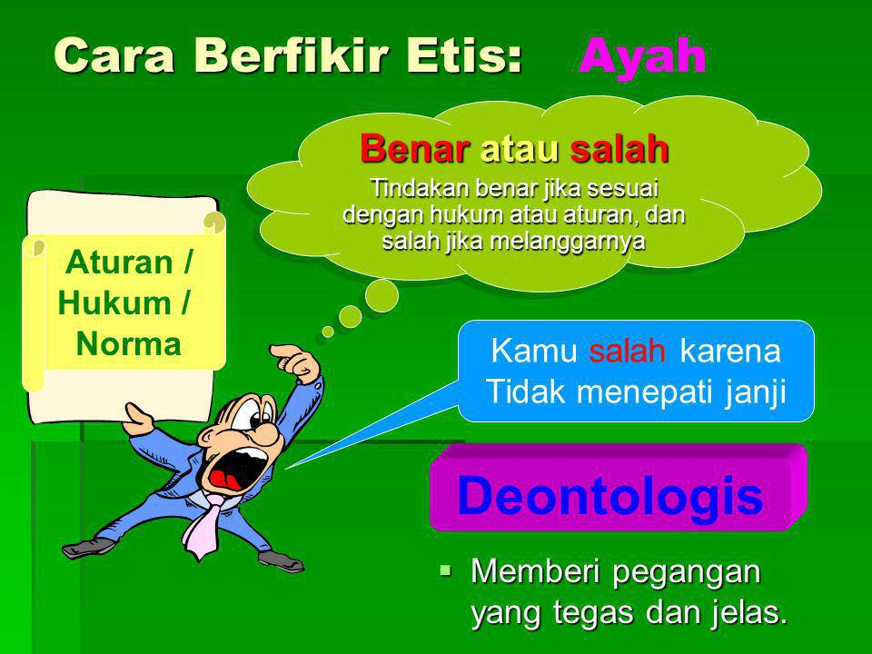 Deontologis Cara Berfikir Etis: Ayah Benar atau salah Aturan / Hukum /
