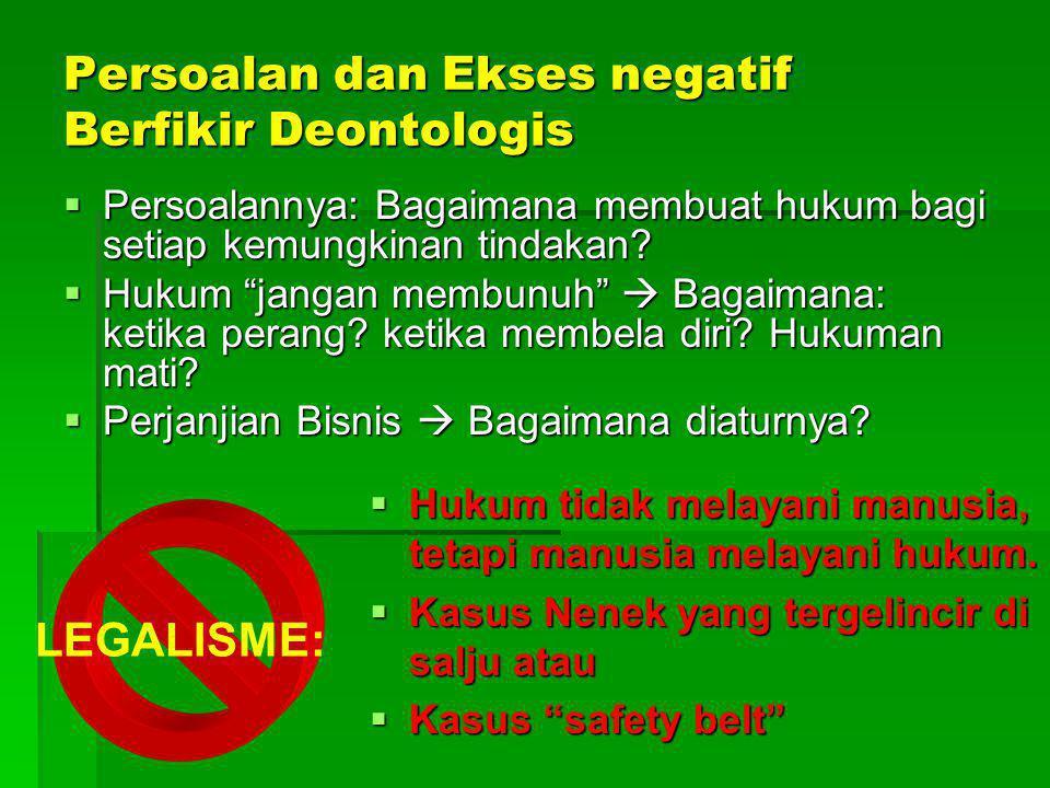 Persoalan dan Ekses negatif Berfikir Deontologis