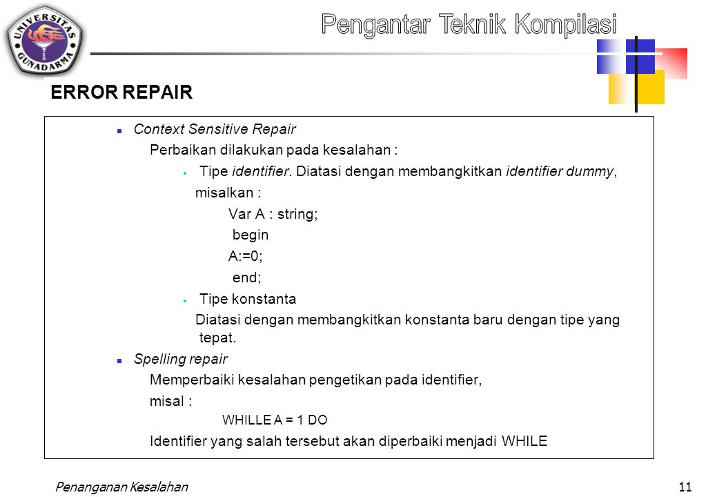 ERROR REPAIR Context Sensitive Repair