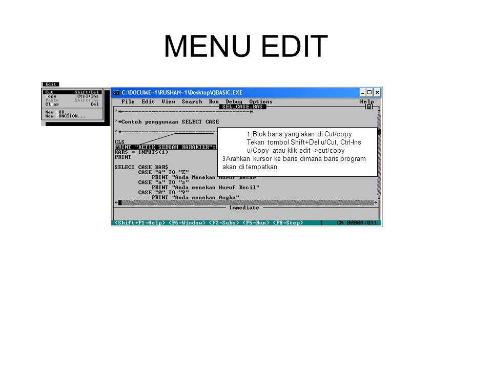 MENU EDIT .Blok baris yang akan di Cut/copy