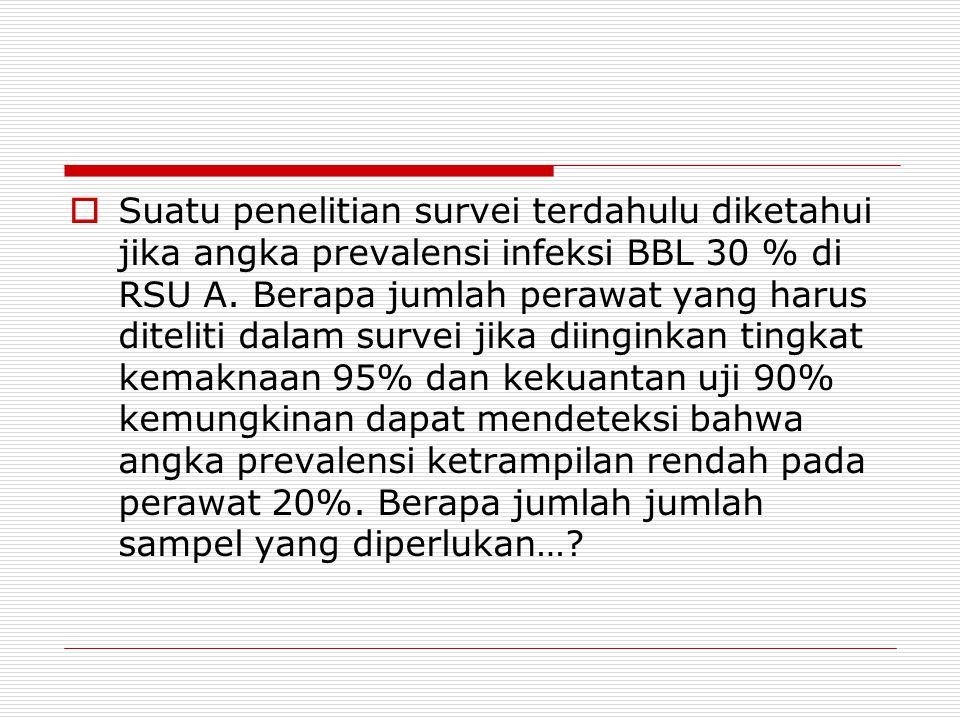 Suatu penelitian survei terdahulu diketahui jika angka prevalensi infeksi BBL 30 % di RSU A.