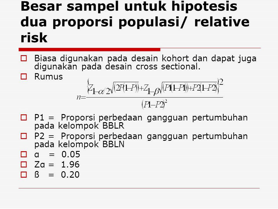 Besar sampel untuk hipotesis dua proporsi populasi/ relative risk