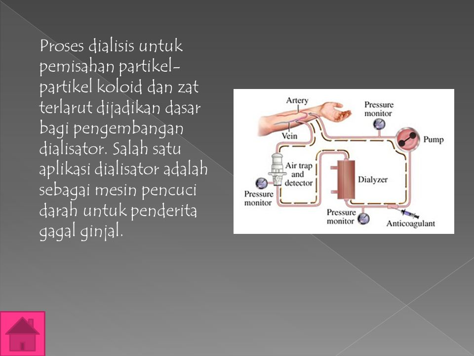 Proses dialisis untuk pemisahan partikel-partikel koloid dan zat terlarut dijadikan dasar bagi pengembangan dialisator.