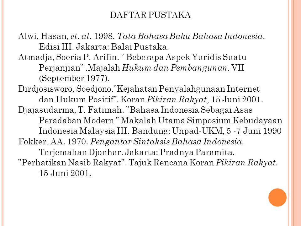 DAFTAR PUSTAKA Alwi, Hasan, et. al. 1998