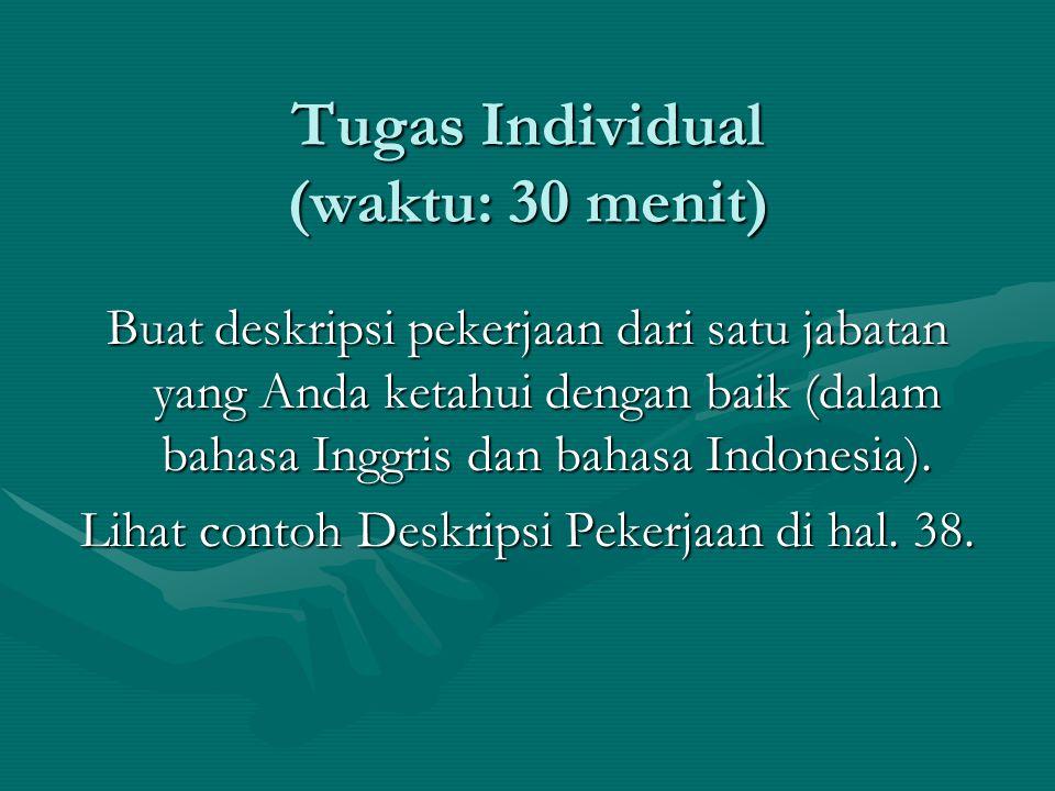 Tugas Individual (waktu: 30 menit)