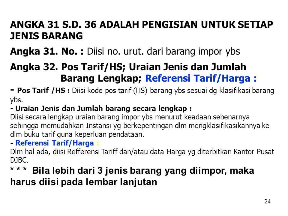 ANGKA 31 S.D. 36 ADALAH PENGISIAN UNTUK SETIAP JENIS BARANG