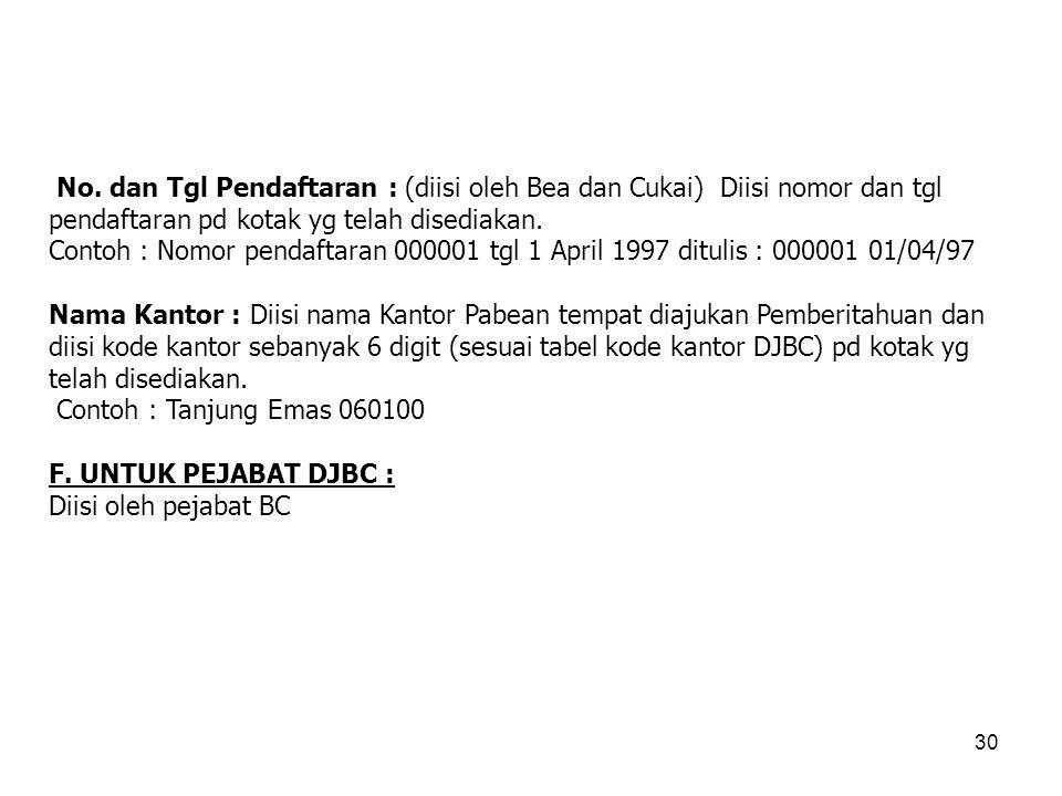 No. dan Tgl Pendaftaran : (diisi oleh Bea dan Cukai) Diisi nomor dan tgl pendaftaran pd kotak yg telah disediakan.
