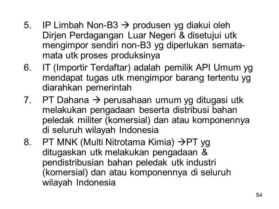 IP Limbah Non-B3  produsen yg diakui oleh Dirjen Perdagangan Luar Negeri & disetujui utk mengimpor sendiri non-B3 yg diperlukan semata-mata utk proses produksinya