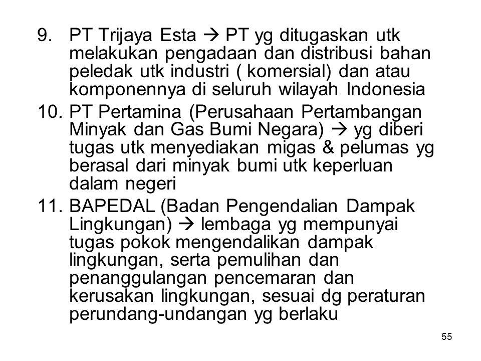 PT Trijaya Esta  PT yg ditugaskan utk melakukan pengadaan dan distribusi bahan peledak utk industri ( komersial) dan atau komponennya di seluruh wilayah Indonesia