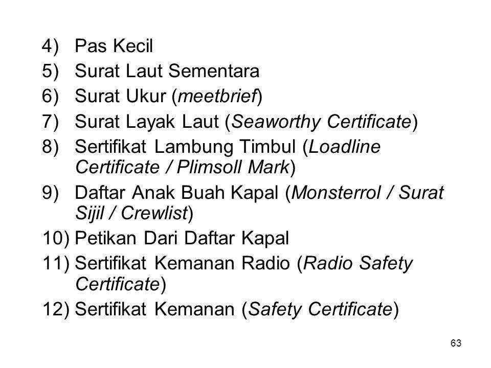 Pas Kecil Surat Laut Sementara. Surat Ukur (meetbrief) Surat Layak Laut (Seaworthy Certificate)