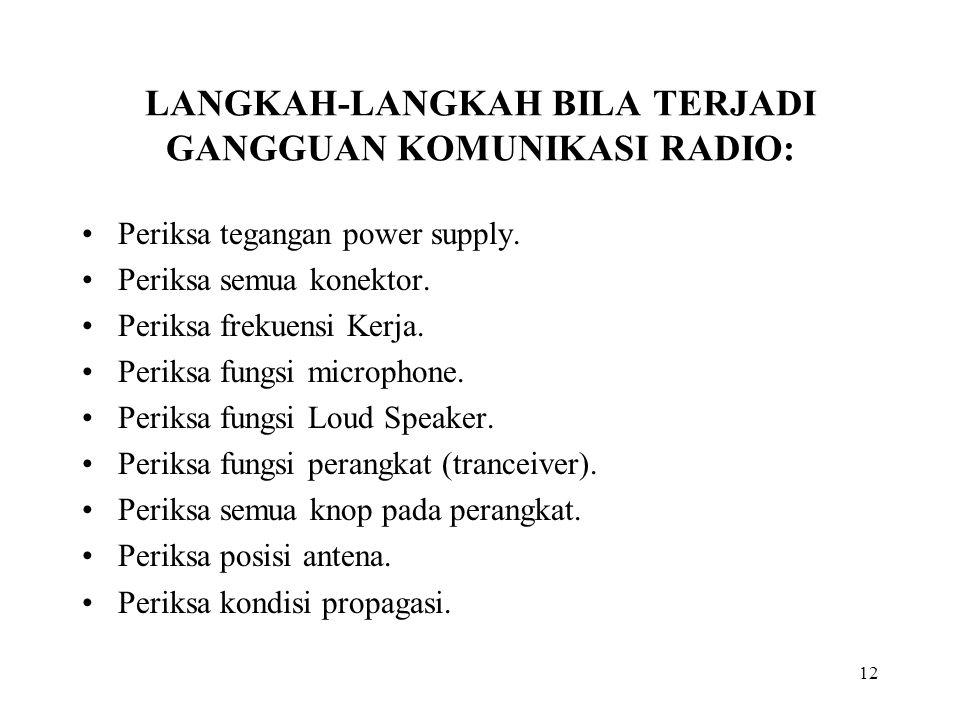 LANGKAH-LANGKAH BILA TERJADI GANGGUAN KOMUNIKASI RADIO: