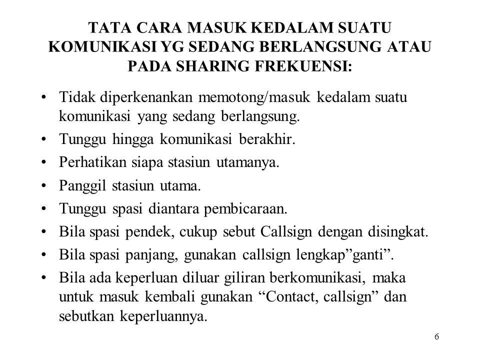 TATA CARA MASUK KEDALAM SUATU KOMUNIKASI YG SEDANG BERLANGSUNG ATAU PADA SHARING FREKUENSI: