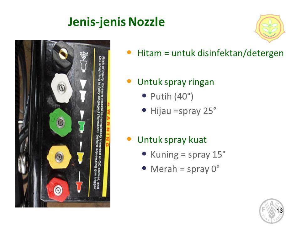 Jenis-jenis Nozzle Hitam = untuk disinfektan/detergen