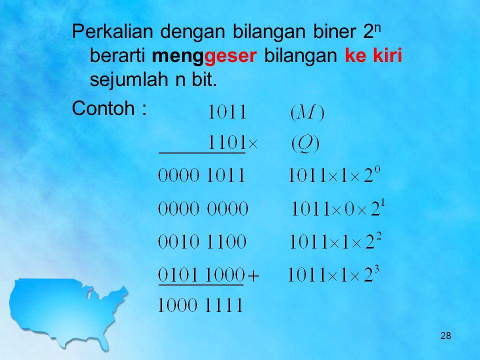 Perkalian dengan bilangan biner 2n berarti menggeser bilangan ke kiri sejumlah n bit.