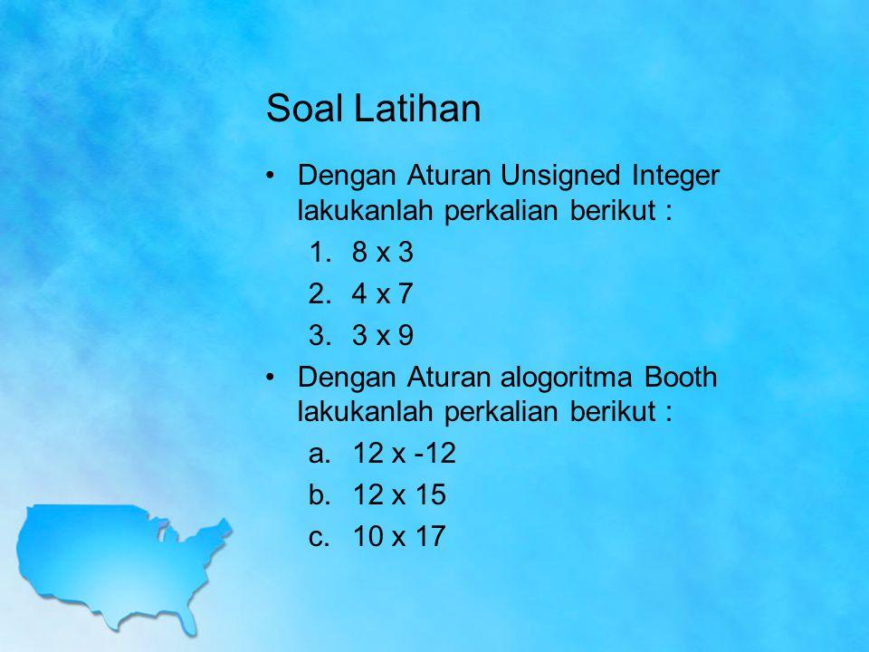 Soal Latihan Dengan Aturan Unsigned Integer lakukanlah perkalian berikut : 8 x 3. 4 x 7. 3 x 9.