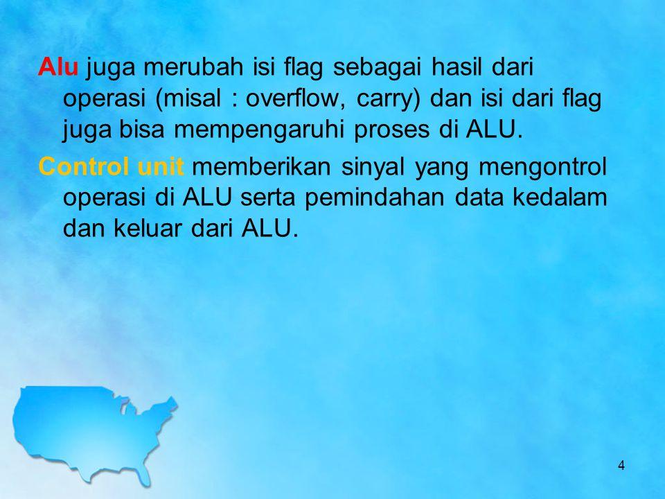 Alu juga merubah isi flag sebagai hasil dari operasi (misal : overflow, carry) dan isi dari flag juga bisa mempengaruhi proses di ALU.