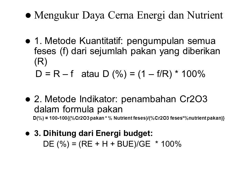 Mengukur Daya Cerna Energi dan Nutrient