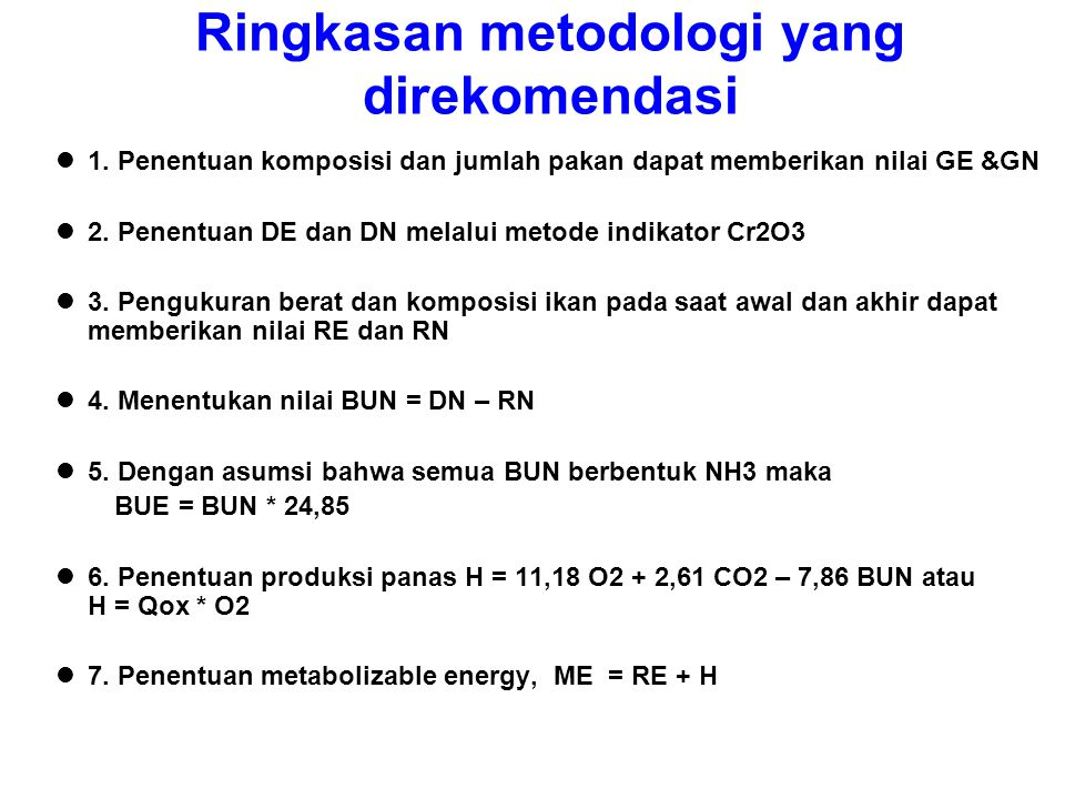 Ringkasan metodologi yang direkomendasi