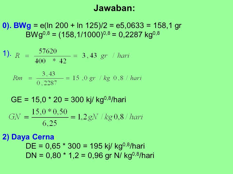 Jawaban: 0). BWg = e(ln 200 + ln 125)/2 = e5,0633 = 158,1 gr