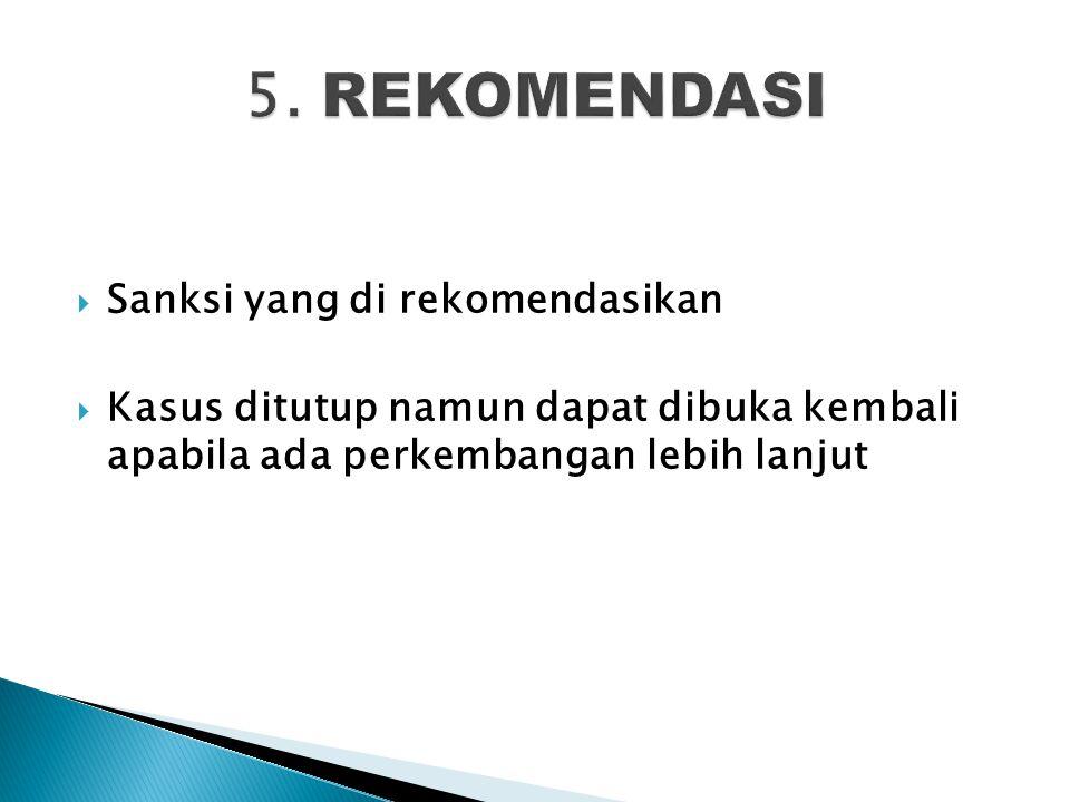 5. REKOMENDASI Sanksi yang di rekomendasikan