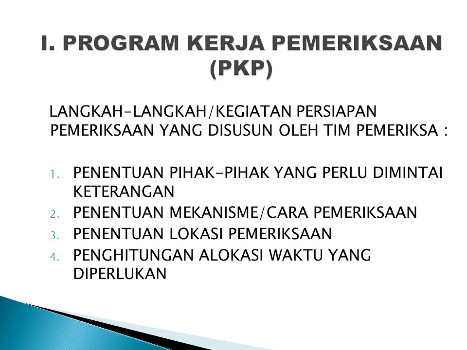 I. PROGRAM KERJA PEMERIKSAAN (PKP)