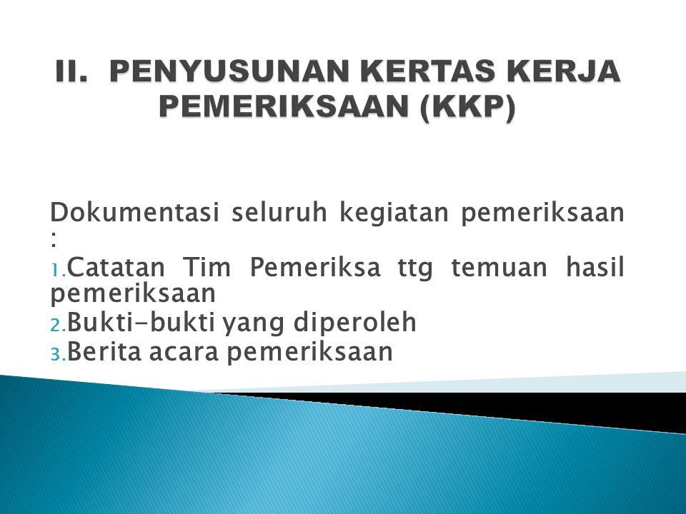 II. PENYUSUNAN KERTAS KERJA PEMERIKSAAN (KKP)