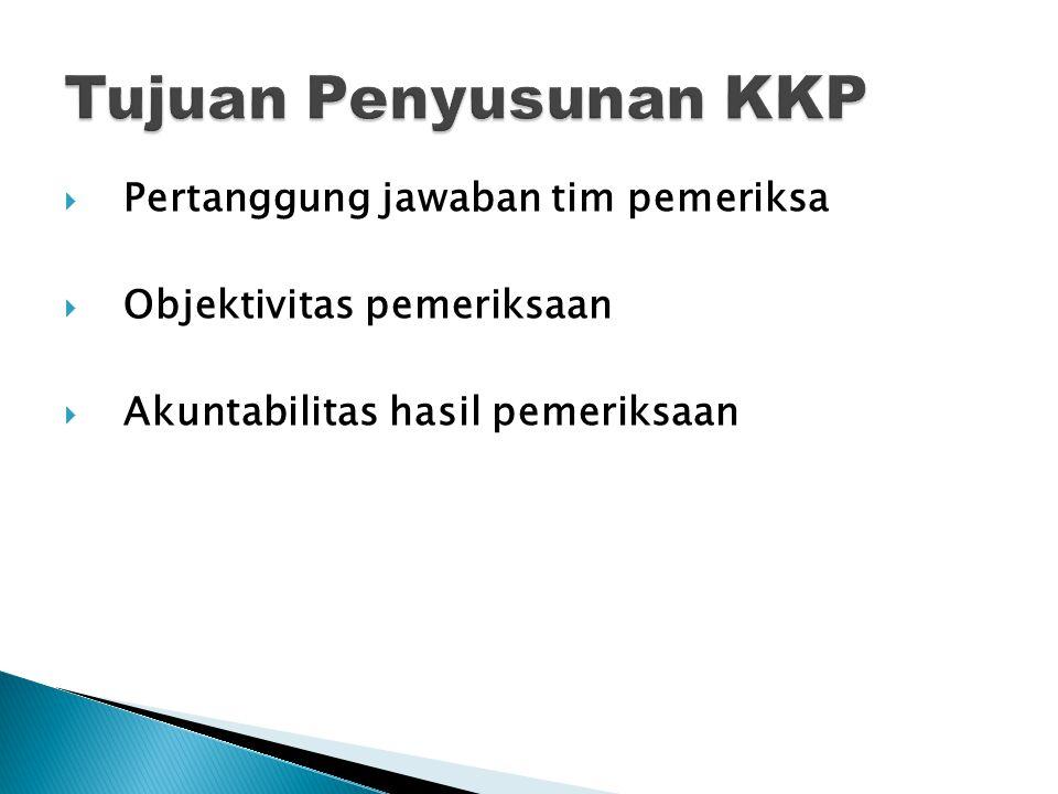 Tujuan Penyusunan KKP Pertanggung jawaban tim pemeriksa