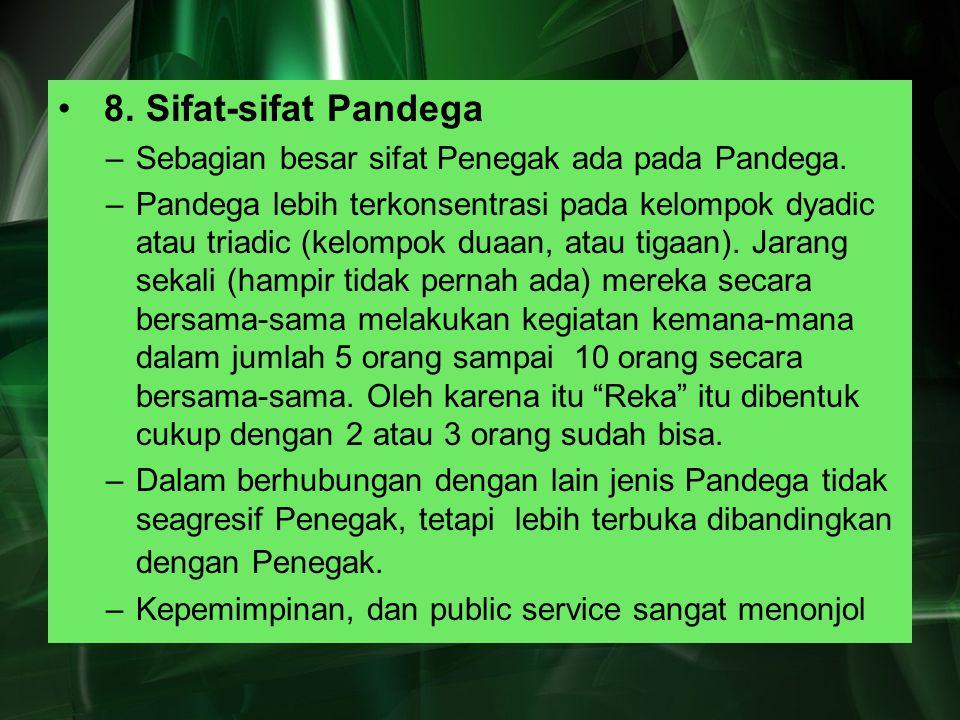 8. Sifat-sifat Pandega Sebagian besar sifat Penegak ada pada Pandega.