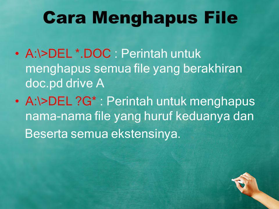 Cara Menghapus File A:\>DEL *.DOC : Perintah untuk menghapus semua file yang berakhiran doc.pd drive A.